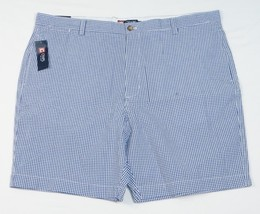 Chaps Flat Front Blue & White Gingham Seersucker Flat Front Shorts Mens NWT - $37.49