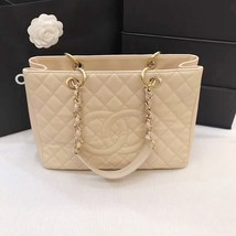 AUTHENTIC CHANEL QUILTED CAVIAR GST GRAND SHOPPING TOTE BAG BEIGE GHW image 2