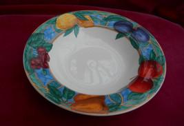 """3 Victoria Beale Forbidden Fruit Rim Soup Bowls 8 5/8"""" 9024 Lemon Plum - $25.24"""