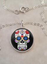 Sterling Silver 925 Pendant Necklace Sugar Skull Dia De Los Muertos Calavera - $30.50+