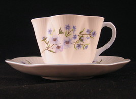 Shelley Blue Rock Tea Cup & Saucer #13591 Bone China England - $40.09