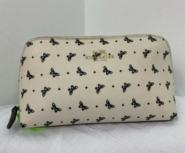 """Coach Cosmetic Bag 17"""" Butterfly Dot Print White Coated Canvas Zip F59783 M3 - $58.79"""