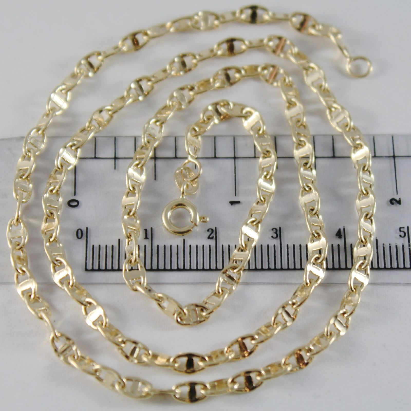 18K YELLOW GOLD CHAIN 3.8 MM FLAT NAVY MARINER LINK 19.70 INCHES MADE IN ITALY