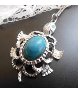 Vintage Silver Faux Turquoise Blue Native Style... - $17.81