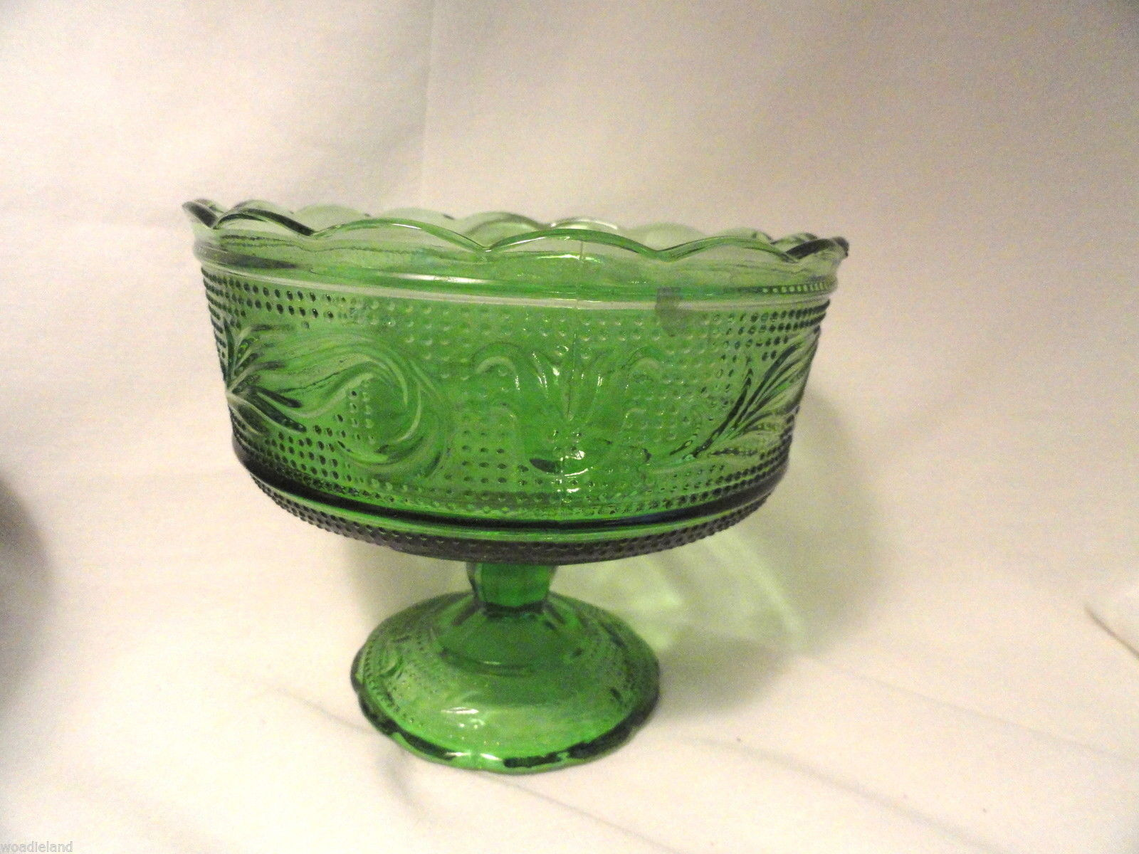 Forest Green Heritage Footed Compote Bowl Mid-Century Modern