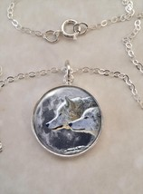 Sterling Silver .925 Pendant Necklace Wolves Moon Wolf Pack Howl - $30.50+