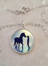 Sterling Silver .925 Pendant Necklace Woman With Horse Walking in Water - $30.50+