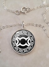 Sterling Silver .925 Pendant Necklace Triple Moons Goddess Wicca pagan - $30.50+