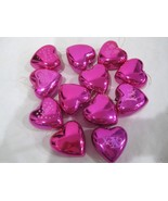 """Valentines Day Pink Shiny Hearts 2.25"""" Ornaments Set of 12 Decorations - $16.99"""