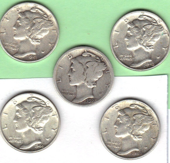 Five mercury dimes lot #2