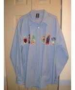 Warner Bros Studio Store Denim Blue Button Down Long Sleeve Shirt Size L - $17.99