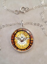 Sterling Silver .925 Pendant Peace Dove Stained Glass Catholic Christian - $30.00+