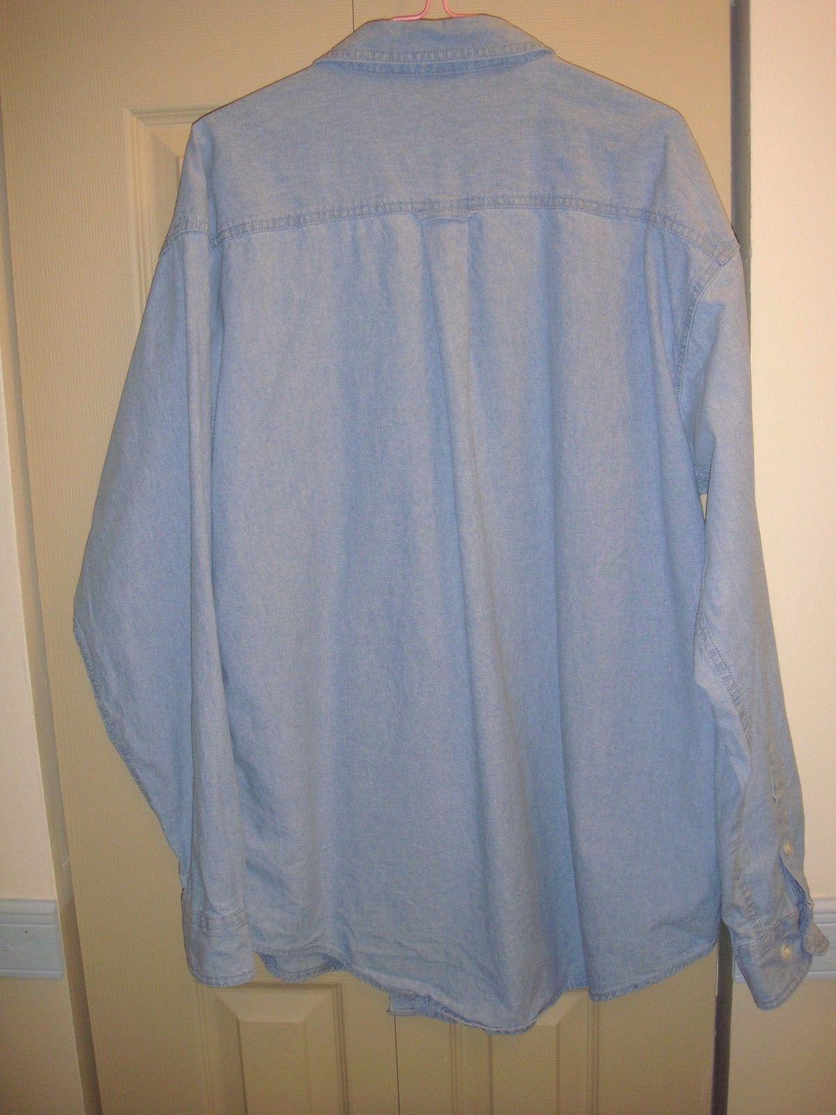 Warner Bros Studio Store Denim Blue Button Down Long Sleeve Shirt Size L