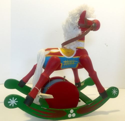 Vintage Bonwit Teller Wooden Rocking Horse Wind Up Musical plays Toyland