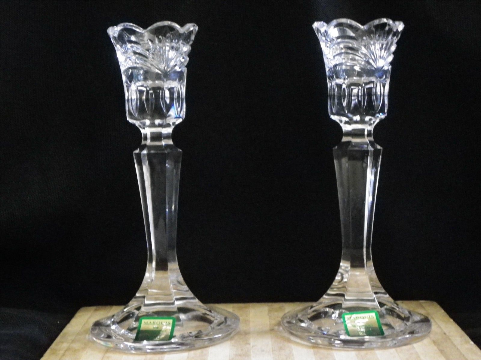 """Marquis Scalloped Fan Cut by Waterford Calais 6"""" Candlestick Watermark - $32.66"""