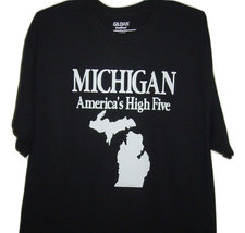 """Free Shipping Detroit funny t/shirt black  """"Michigan state map  the wolv... - $15.99+"""
