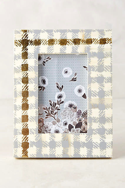 Gingham Gold and Gray Checked Frame Anthropologie