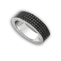 925 Sterling Silver Black Cubic Zirconia four Row Eternity Band Ring - $79.97
