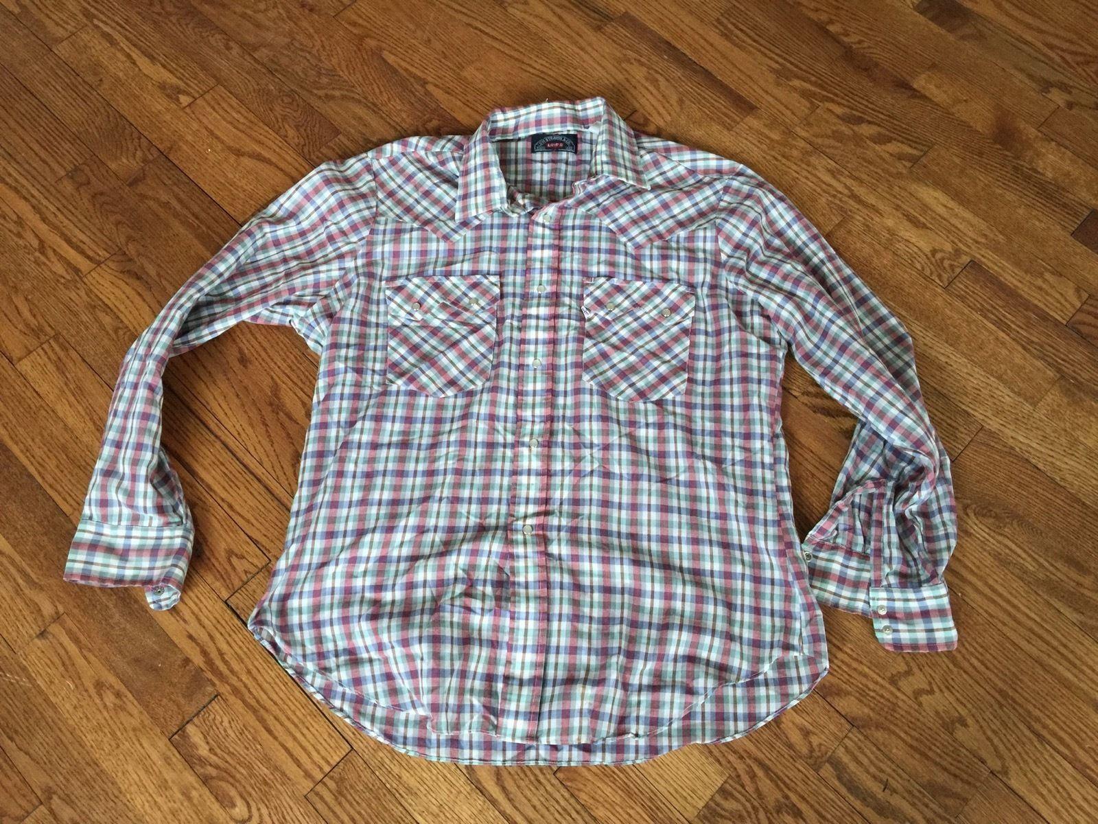 d4a759a644 S l1600. S l1600. Previous. Vintage Levi s Plaid Mens Western Shirt with Pearl  Snaps Size XL · Vintage Levi s Plaid ...