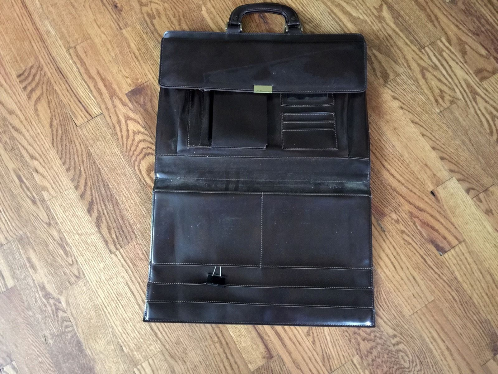 Brown Hazel Attache Portfolio Briefcase Laptop Bag Carrier with Handles