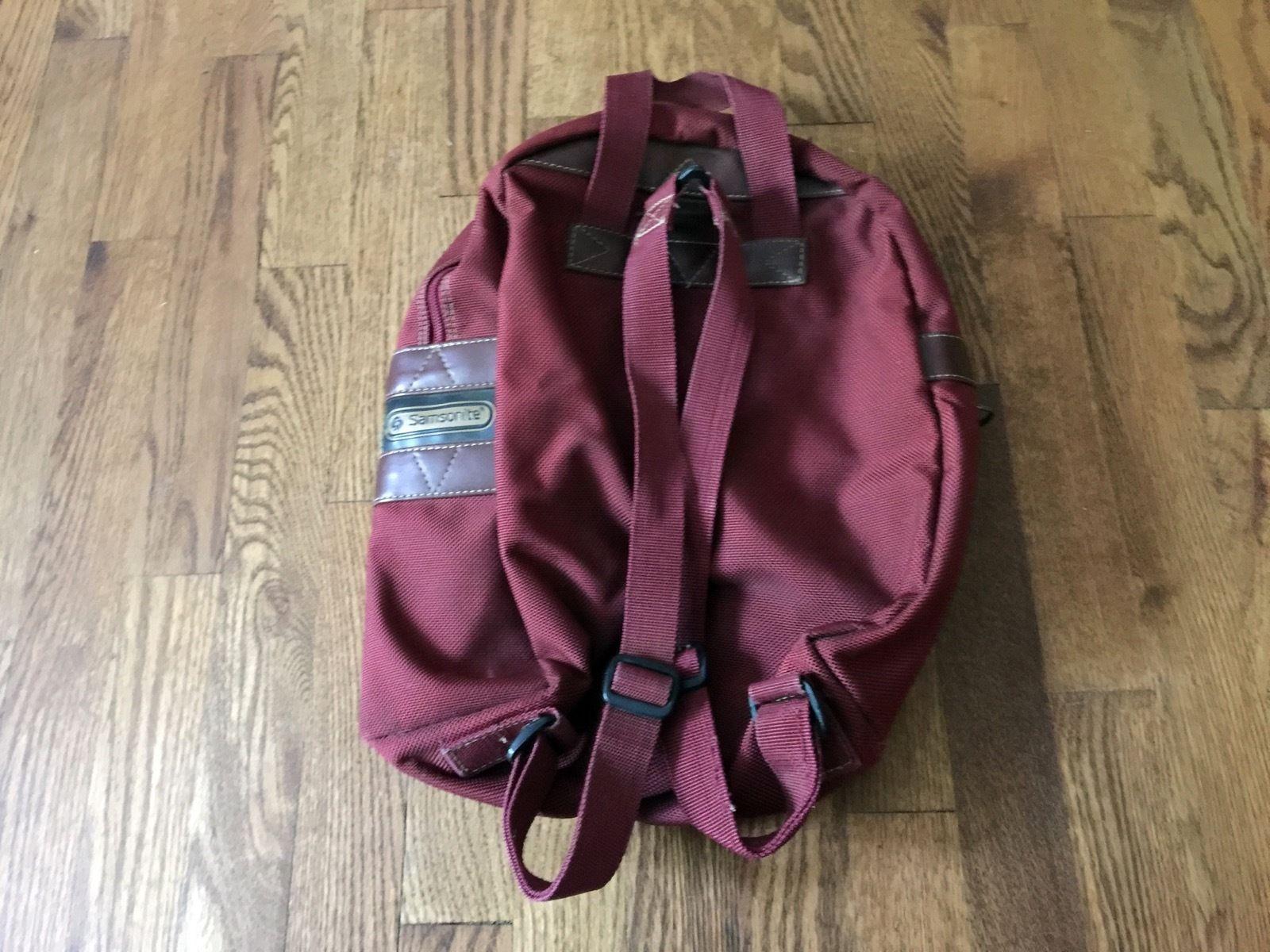 Vintage Maroon Burgundy Samsonite Bookbag Backpack School Carry On Luggage