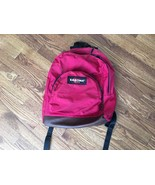 Vtg Red Maroon Eastpak Bookbag Backpack School Carry On Luggage Leather ... - $37.86