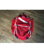 Vtg Large Red Canvas Scuba Dive Diving Bag Gym Luggage Carry On White Zi... - $50.48