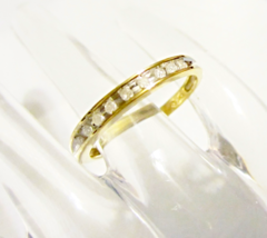 10K YELLOW GOLD DIAMOND ROUND INSET BAND RING, SIZE 7, 0.20(TCW), 1.8GR - NEW - $165.00