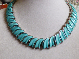 "VTG TRIFARI SIGNED BLUE SILVER TONE LINK NECKLACE 16""L - $88.11"