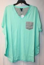 New Womens Plus Size 3 X Aqua V Neck Tee W Striped Pocket Raw Edge T Shirt Top - $16.44