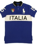 Ralph Lauren Polo Italia Italy World Cup Shirt Mens 2XB Big Pony Blue White New - $57.40