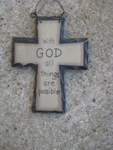 WD801 - With God All Things are Possible Mini Wood Cross  - $1.95