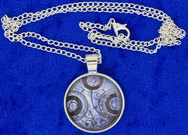 Timelord Necklace Seal on Ancient Paper Blue/Silver Doctor Who Chain Choice - $4.99+