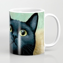 Coffee Mug Cup 11oz or 15oz Made in USA black Cat 607 art painting L.Dumas - $19.99+