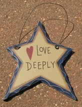 WD810 - Love Deeply Hanging Wood Star - $1.95