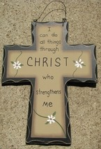 wd472 - I can do all things through Christ who Strengthens Me Wood Cross  - $3.95