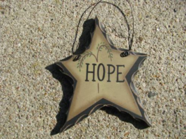 WD806-Hope Hanging Wood Star - €1,77 EUR