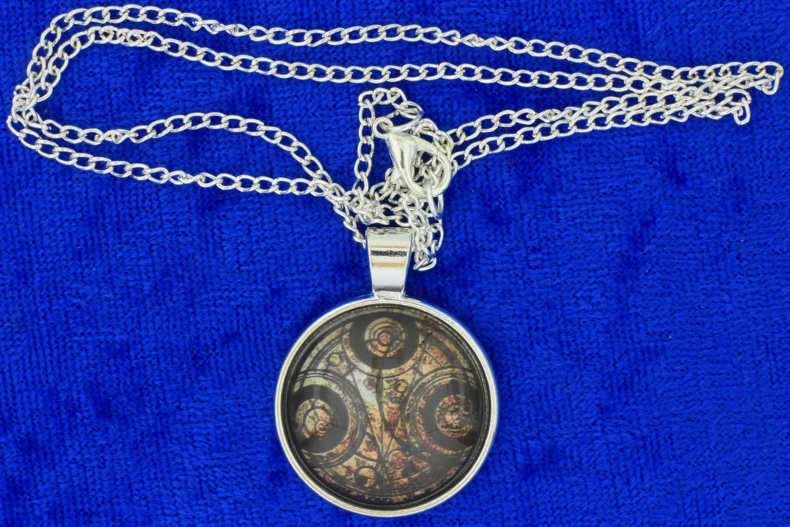 Timelord necklace silver cabochon brown