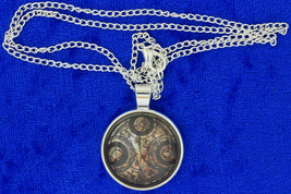 Timelord Necklace Seal on Ancient Paper Brown/Silver Doctor Who Chain Ch... - $4.99+