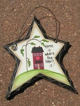 wd811 - Home is Where the Heart is! Hanging Wood Star - $1.95