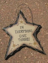 wd814 - In Everything Give Thanks Hanging Wood Star - $1.95