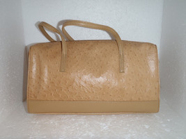 Tan Leather Purse by Stone Mountain Ostrich Embossed Handbag - $32.40