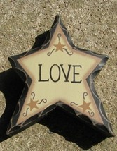 wd904 - Primitive Love Wood Standing Star  - $2.95