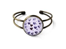 Purple Watercolor Hearts Cuff Bracelet - $19.95