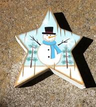 WD915  Snowman  Wood Standing Star  - $2.95