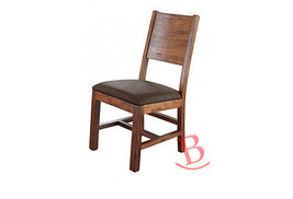 Johns Solid Wood Chair with Leather Seat Pad Rustic Brown Western Lodge ... - $311.85