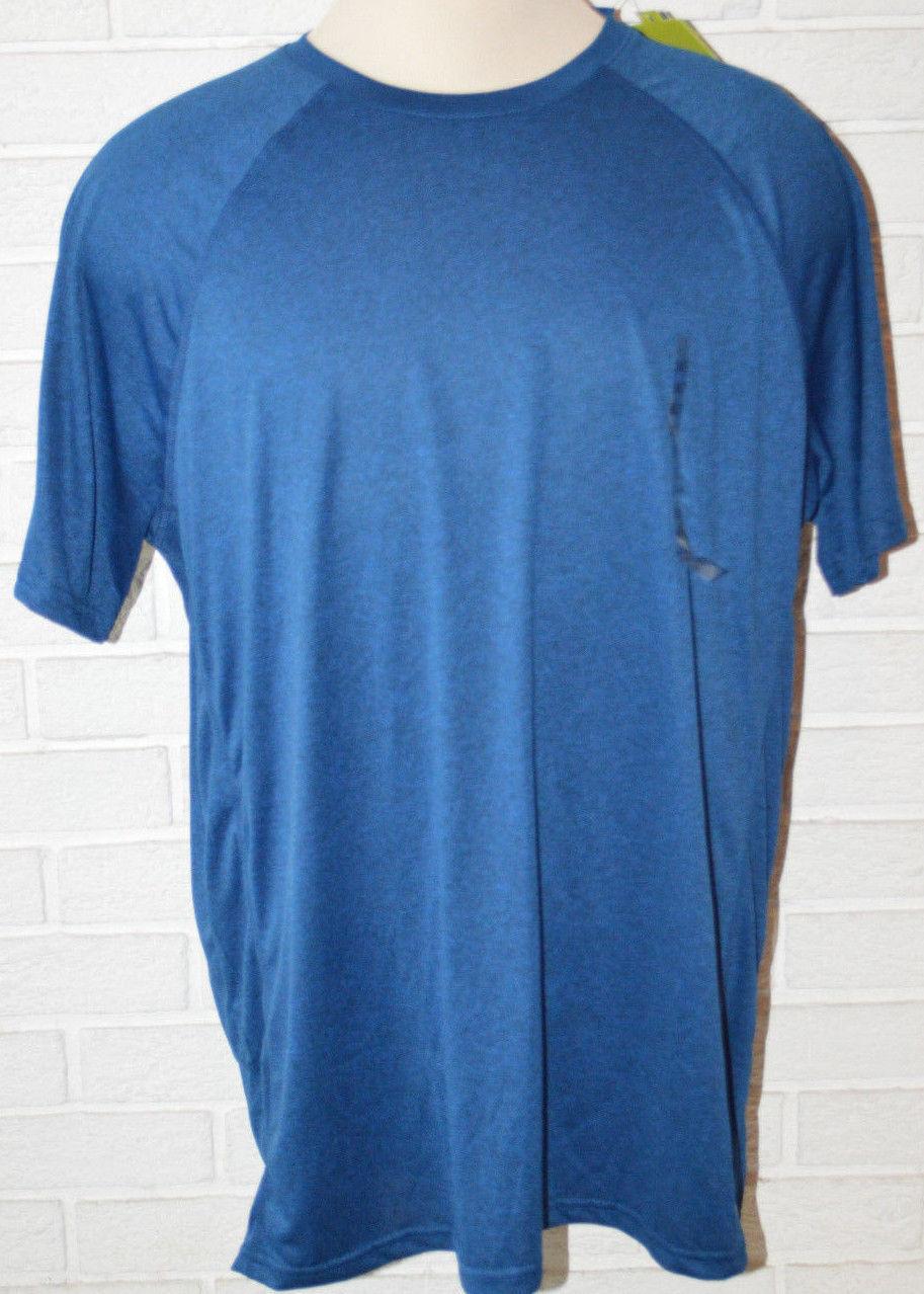 Men 39 s tek gear blue short sleeve drytek t shirt top size for Mens xlt t shirts