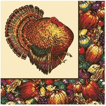 Autumn Turkey 30 Beverage Napkins Fall Thanksgiving - $9.49