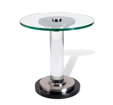 Modern  Black Marble,Steel,Acrylic,Glass Top Accent End Table,20''D x 20''H - $2,077.56 CAD