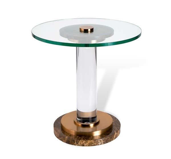Black Acrylic Zella Accent Table: Modern Black Marble,Steel,Acrylic,Glass Top Accent End